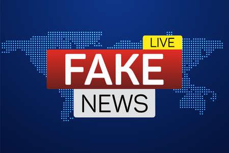 Fake news live banner op wereldkaart. Business technologie wereldnieuws achtergrond. Vectorillustratie.