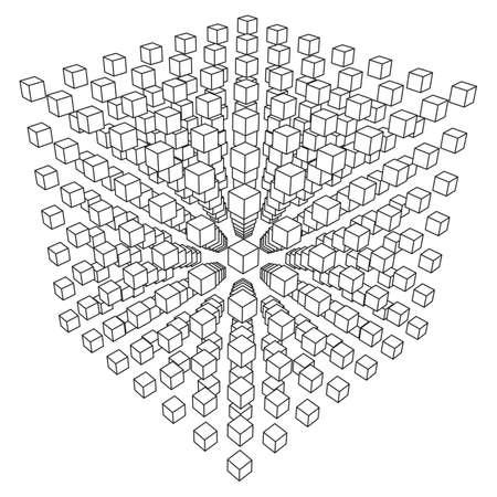 ワイヤ メッシュ キューブは、多くの小さなキューブを確認します。接続構造体。デジタル データの可視化の概念。ベクトルの図。