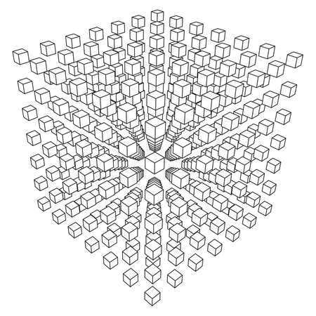 와이어 프레임 메쉬 큐브는 많은 작은 큐브로 만듭니다. 연결 구조. 디지털 데이터 시각화 개념. 벡터 일러스트 레이 션.
