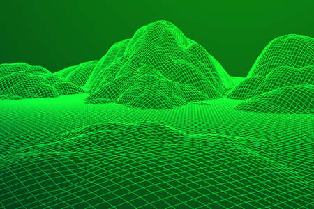 Wireframe landscape background.
