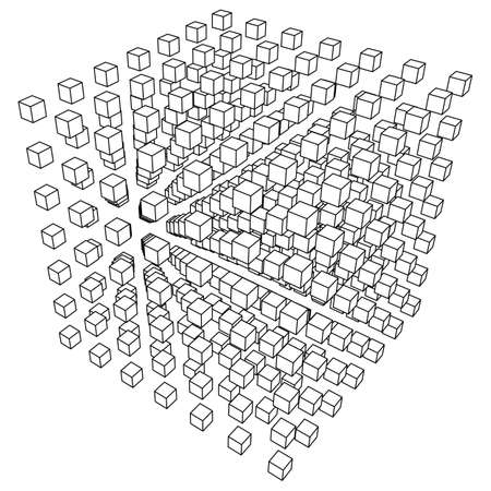 visualize: Wireframe Mesh Cube make with many small cubes. Connection Structure. Digital Data Visualization Concept. Vector Illustration.