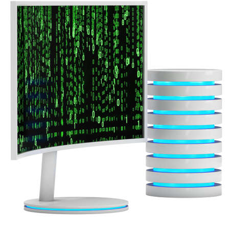 fullhd: White LCD tv screen with server hard disk Stock Photo