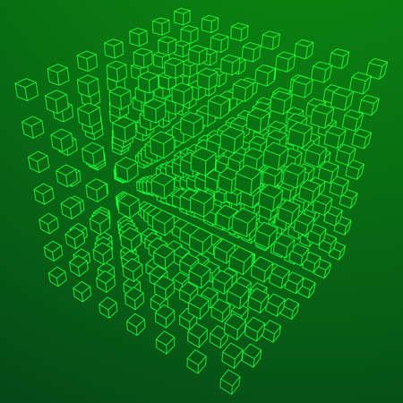 Wireframe Mesh Cube. Illustration