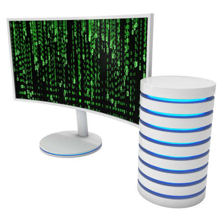 resolutions: White Curved LCD tv screen server hard disk and abstract matrix binary computer code. 3d render isolated on white.