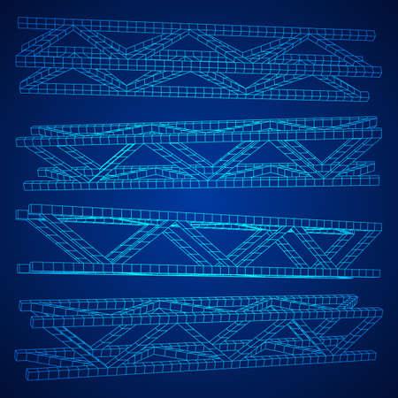 Steel truss girder element set. Wireframe low poly mesh. Vector illustration Illustration