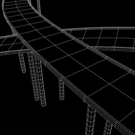 Wireframe Mesh Bridge Highway Crossing