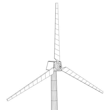 Wind turbine vector wireframe Illustration