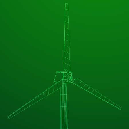 Wind turbine vector wireframe.
