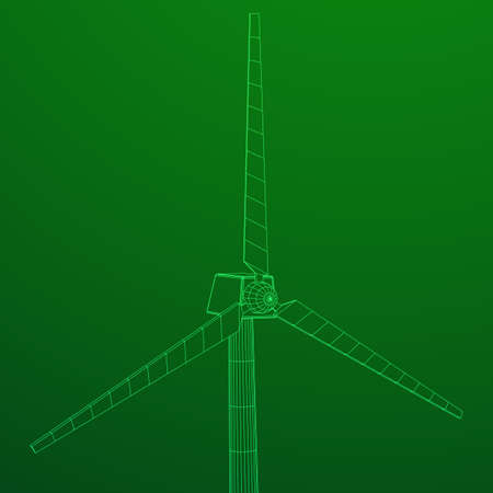 Windturbine vector wireframe. Stock Illustratie