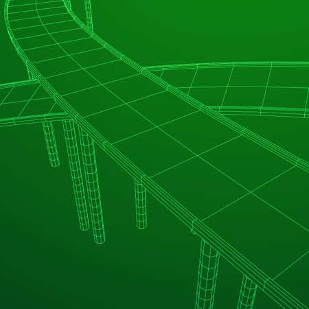 Wireframe Maschen-Brücken-Landstraßen-Überfahrt. Verbindungsstruktur. Digitales Datenvisualisierungskonzept. Vektor-Illustration. Vektorgrafik