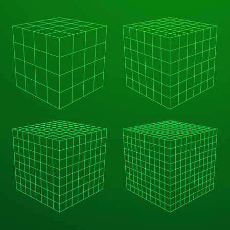 Wireframe Mesh Cube in Differenr Resolution. Connection Structure. Digital Data Visualization Concept. Vector Illustration.