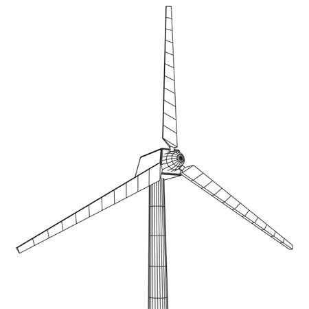 Wind turbine with propeller. Windmill generator wireframe low poly mesh. Vector illustration Vettoriali