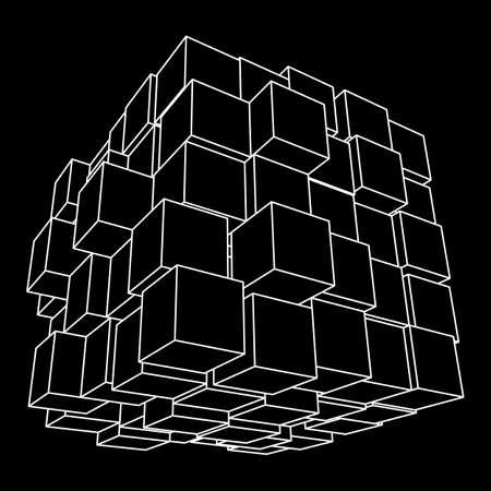 Wireframe Mesh Cube. Ilustrace