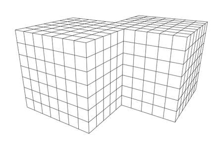 doubled: Wireframe Mesh Doubled Box Illustration