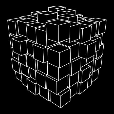 Wireframe Mesh Cube. Illustration