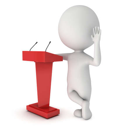 3d Speaker Podium Stock Photo