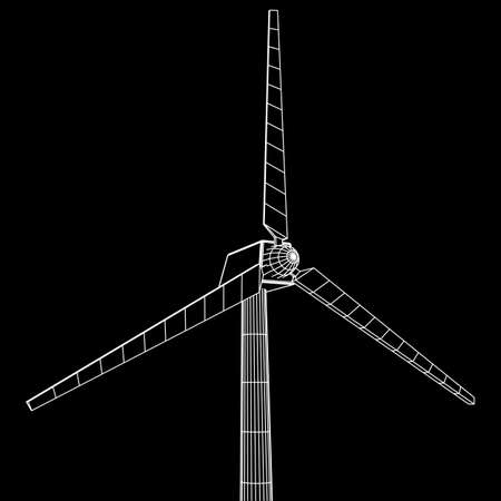 Windturbine vector wireframe Stock Illustratie