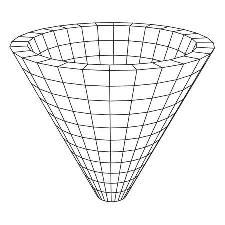 wormhole: Wireframe Mesh Funnel. Connection Structure. Big Data Visualization Concept. Vector Illustration.