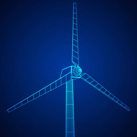 cell tower: Wind turbine with propeller. Windmill generator wireframe low poly mesh. Vector illustration Illustration