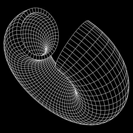 Abstract wireframe slice torus donut. Vector technology background. Connection design template. Illustration