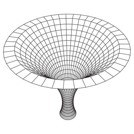 Wireframe Mesh Funnel. Connection Structure. Big Data Visualization Concept. Vector Illustration.