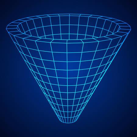 Wireframe Mesh Funnel Illustration