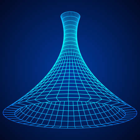 wormhole: Wireframe Mesh Funnel Illustration