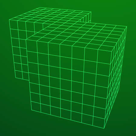 Wireframe Mesh Doubled Box Illustration