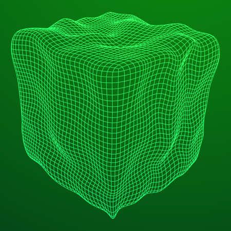 Wireframe Mesh Noise Box Illustration