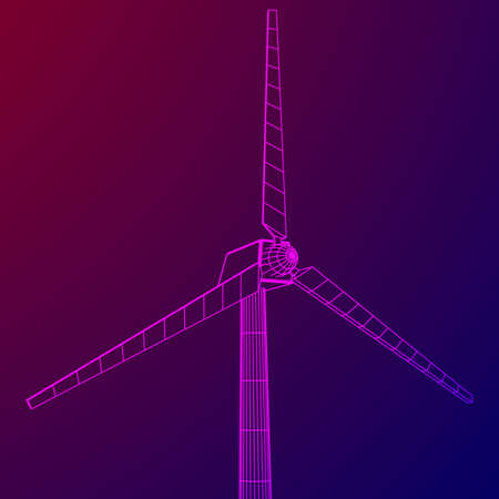Wind turbine with propeller. Windmill generator wireframe low poly mesh. Vector illustration Illustration