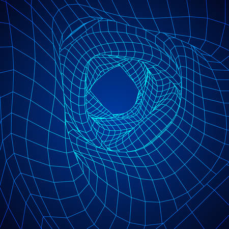 wormhole: Wireframe Mesh Organic Tube. Connection Structure. Big Data Visualization Concept. Vector Illustration.