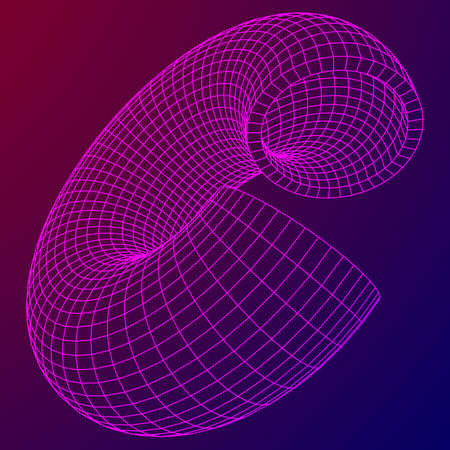 Abstract wireframe sliced donut Vector technology design Illustration