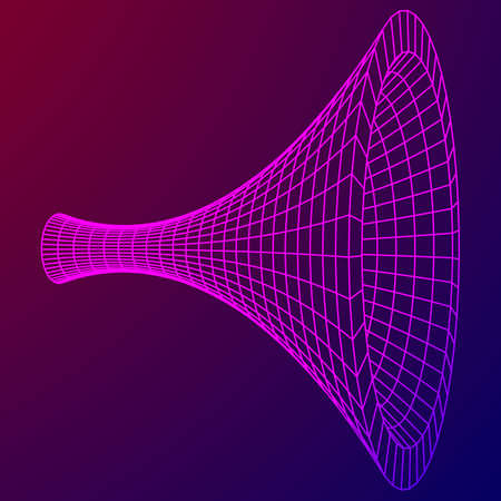 wormhole: Wireframe Mesh Funnel Vector Illustration.