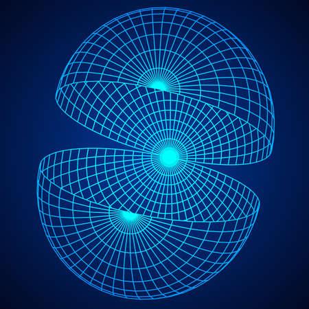 ワイヤ フレームのメッシュ半球  イラスト・ベクター素材