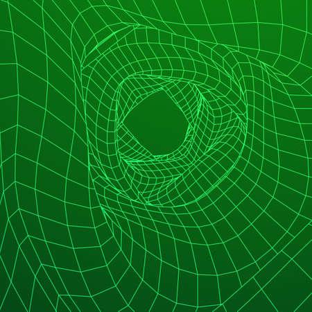 wormhole: Wireframe Mesh Organic tube Illustration