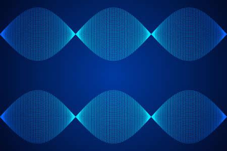 Wireframe Mesh Sinusoidal Plane. Trigonometry. Connection Structure. Digital Data Visualization Concept. Vector Illustration.