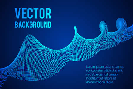 twist: Wireframe Mesh Sinusoidal Plane. Trigonometry. Connection Structure. Digital Data Visualization Concept. Vector Illustration.