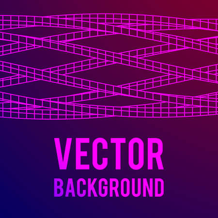 electronic background: Low poly truss structure wireframe mesh background. Science and tech vector illustration.