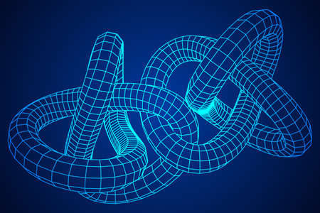 Low poly knot or wire wireframe mesh background. Scinece and tech vector illustration.