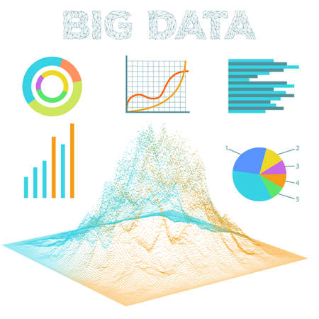 Big data visualization. Diagrams bar and line graphics. Analysis of information vector background.