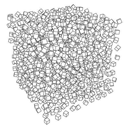 Wireframe Mesh Cube maken met veel kleine blokjes. Verbindingsstructuur. Digital Data Visualization Concept. Vector illustratie. Vector Illustratie