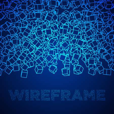 와이어 프레임 큐브 배너입니다. 일러스트