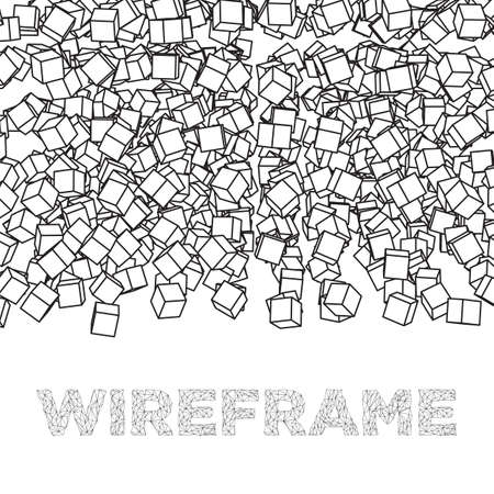 Wireframe Mesh Cubes banner. Connection Structure. Digital Data Visualization Concept. Vector Illustration. Reklamní fotografie - 86737470