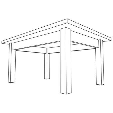 Table furniture wireframe blueprint.