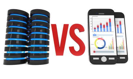Big Data VS Small Data Stock Photo