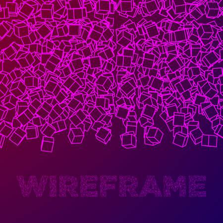 와이어 프레임 메쉬 큐브 배너입니다. 연결 구조. 디지털 데이터 시각화 개념. 벡터 일러스트 레이 션. 일러스트