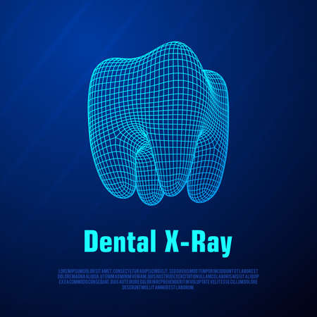 Dental X-Ray vector on blue background.