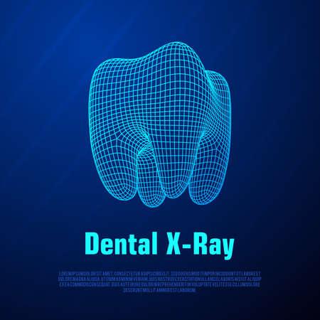 Tandröntgenstraalvector op blauwe achtergrond.
