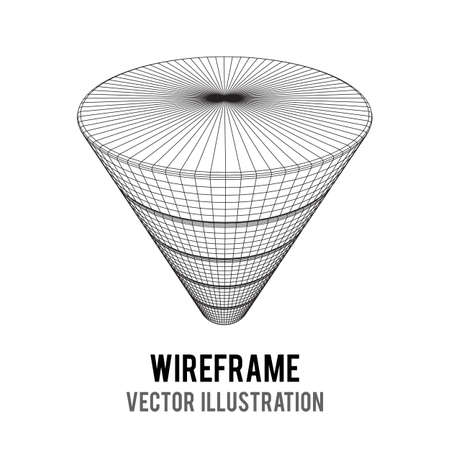 Marketing conversion funnel sales diagram. Wire-frame poly mesh vector illustration. Concept of business and finance.