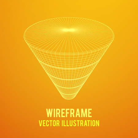 Marketing conversion funnel sales diagram. Wire-frame poly mesh vector illustration.